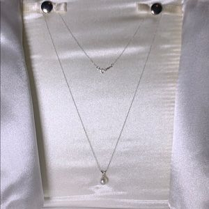 Pearl Pendant Necklace, 14K CFW pearl w/diamond